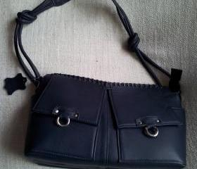 REAL COW LEATHER WOMEN HAND BAG INDIGO COLOR